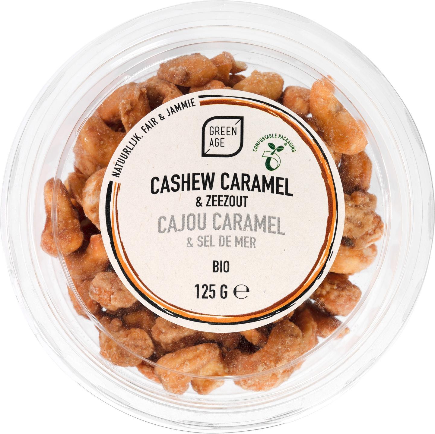 Biologische GreenAge Cashewnoten karamel/ zeezout 125 gr
