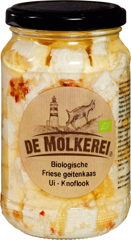 Biologische De Molkerei Friese geitenkaas ui-knoflook 350 gr