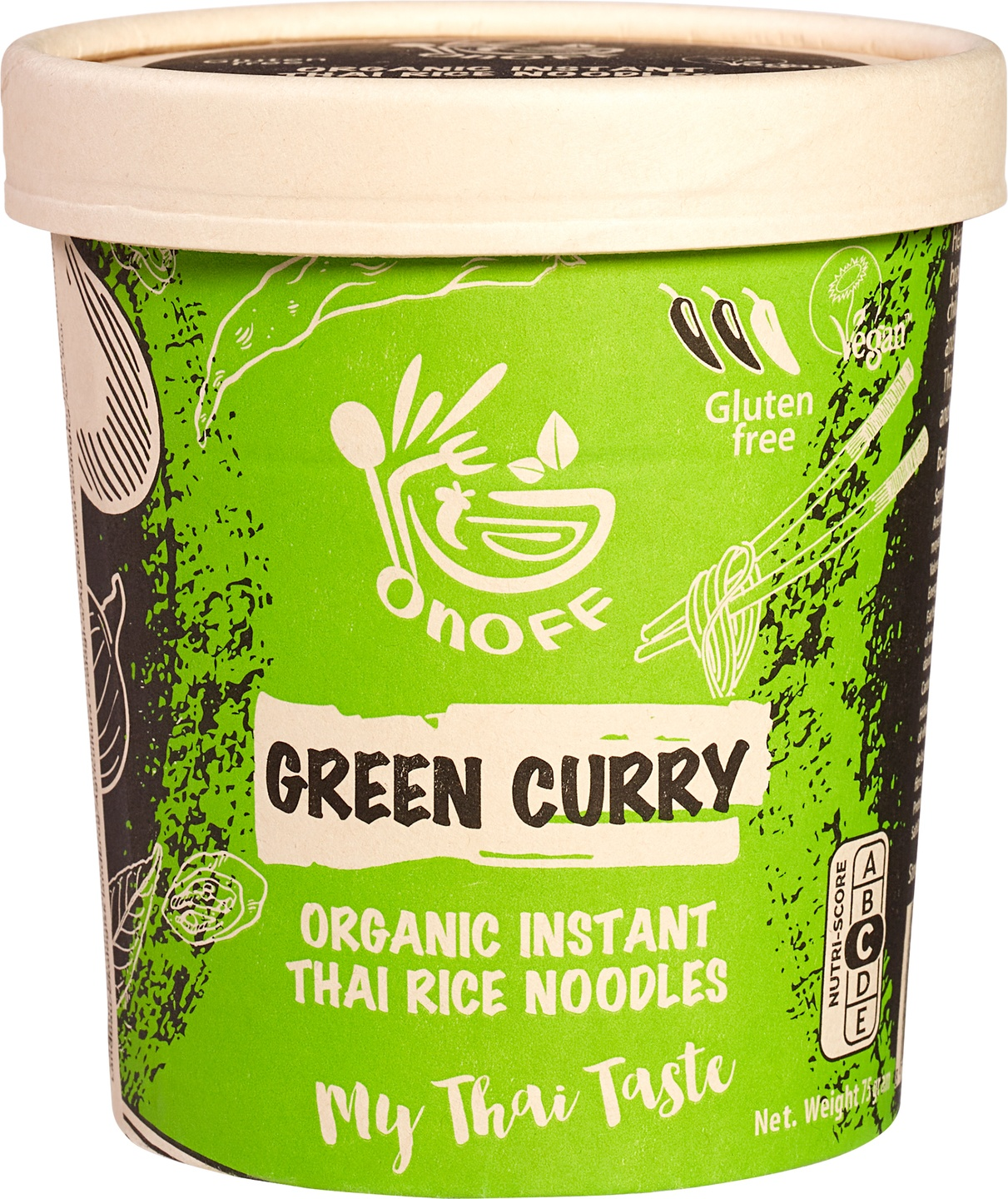 Biologische onoff spices! Instant noodles soup Green Curry 75 g