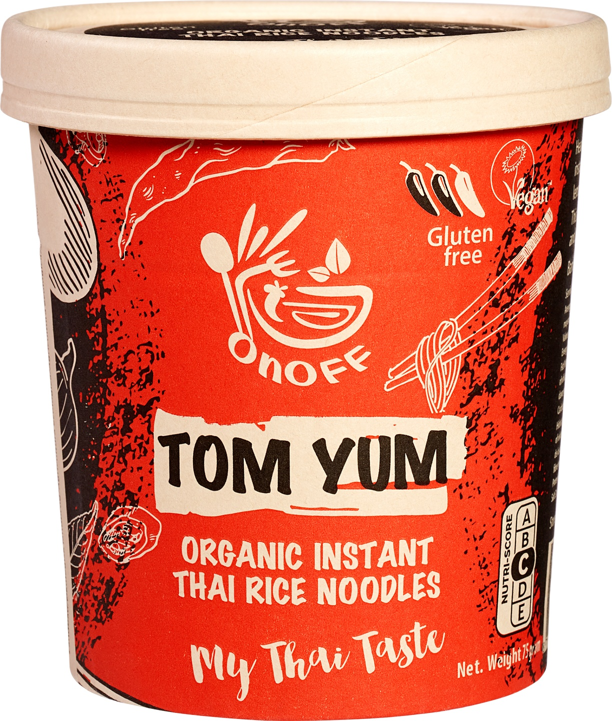 Biologische onoff spices! Instant noodles soup Tom Yum 75 g