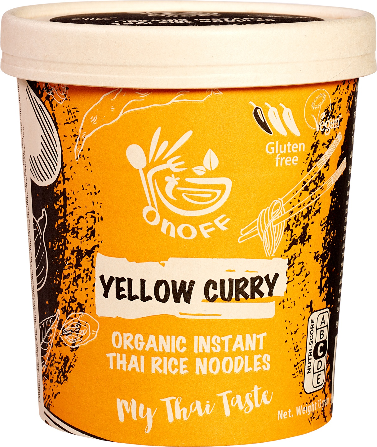 Biologische onoff spices! Instant noodles soup yellow curry 75 g