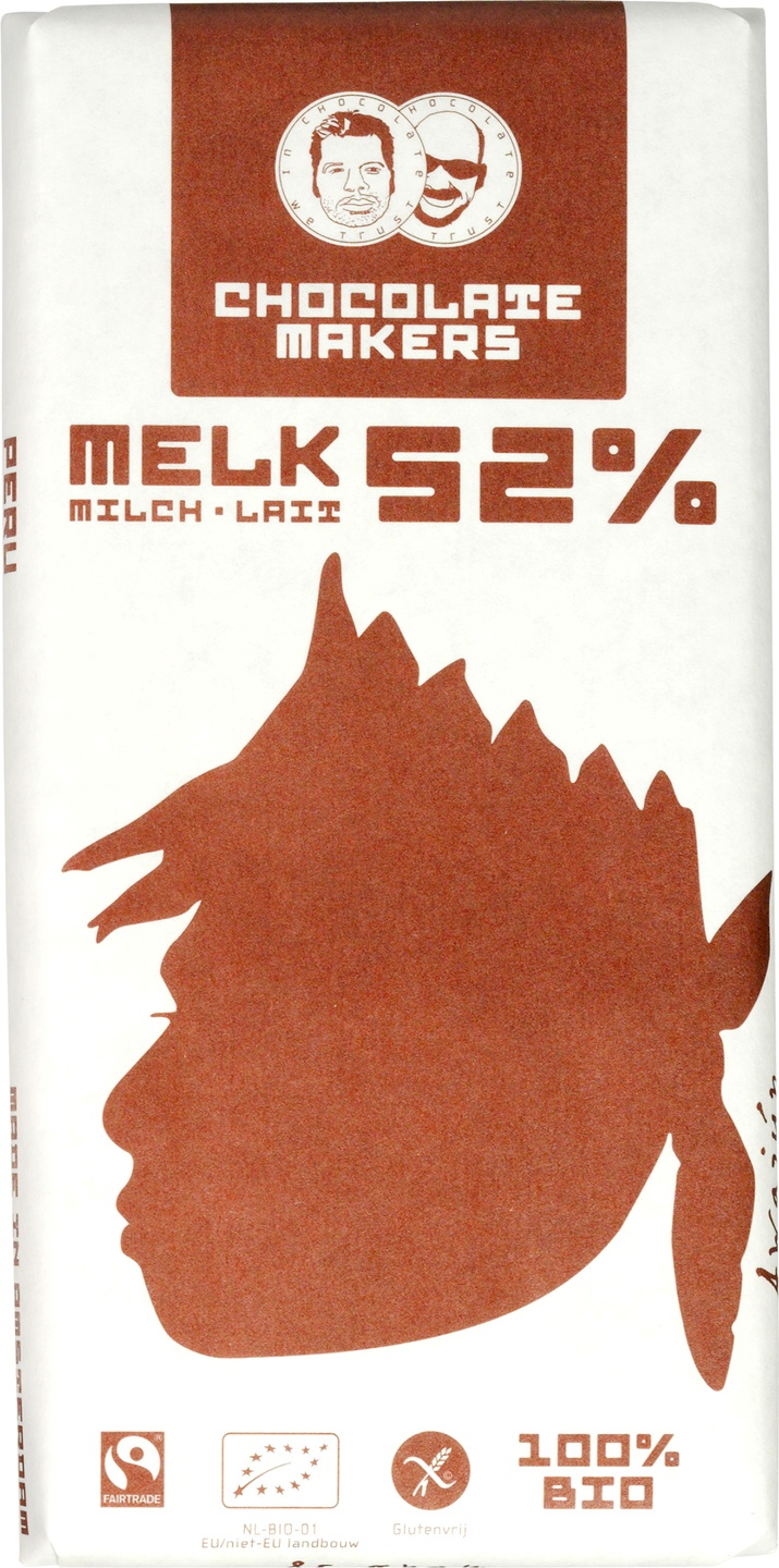 Biologische Chocolatemakers Melkchocolade 52% - Awajun bar 85 gr