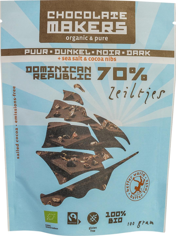 Biologische Chocolatemakers Chocozeiltjes puur 70% - zeezout 100 gr