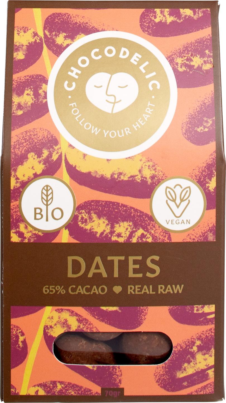 Biologische Chocodelic Chocolade dadels 70 gr