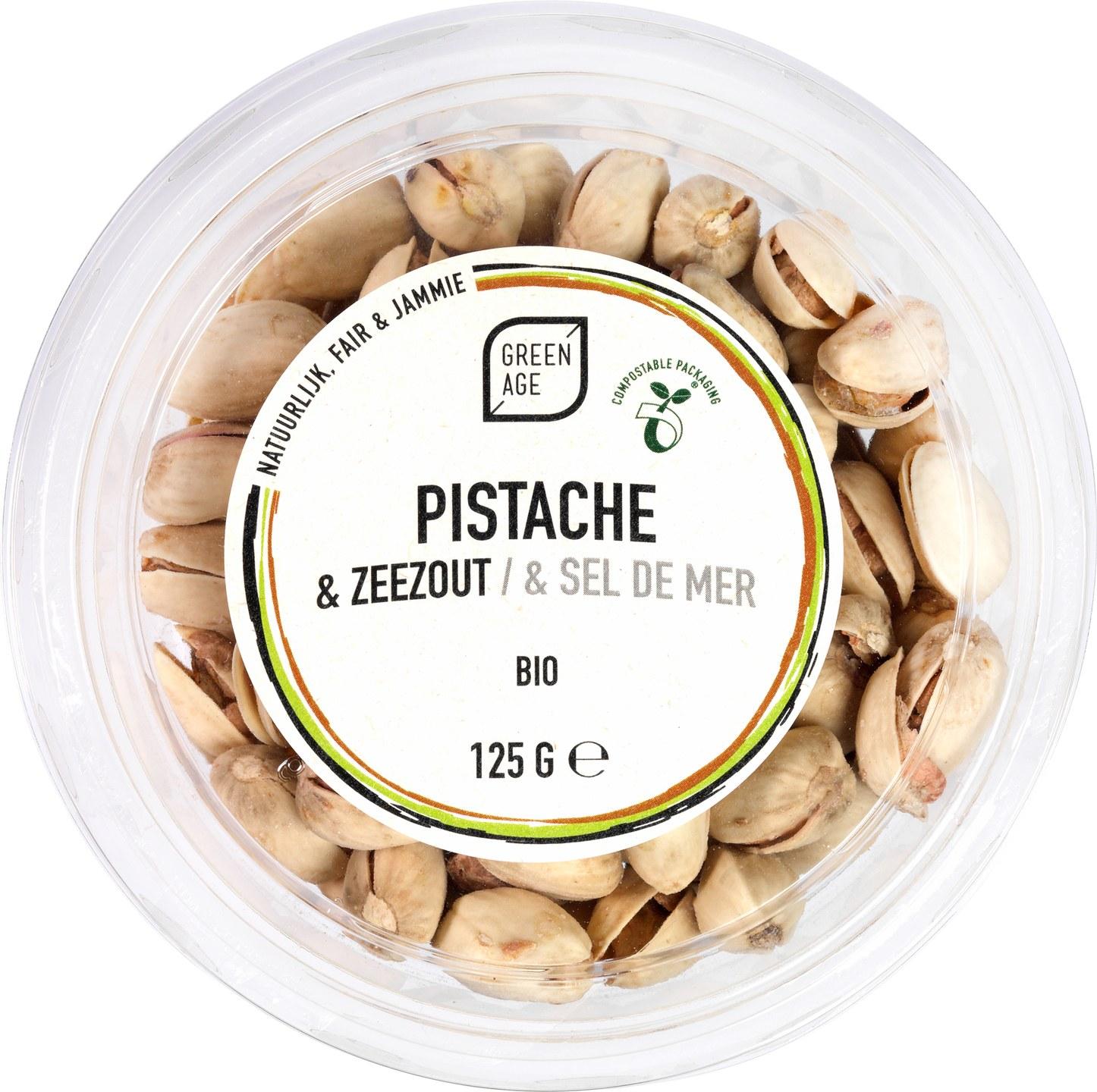 Biologische GreenAge Pistache & Zeezout 125 gr