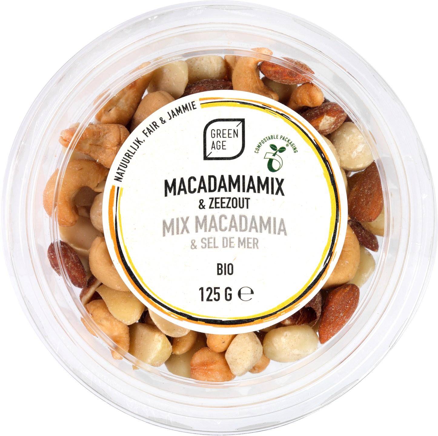 Biologische GreenAge Macadamiamix & Zeezout 125 gr
