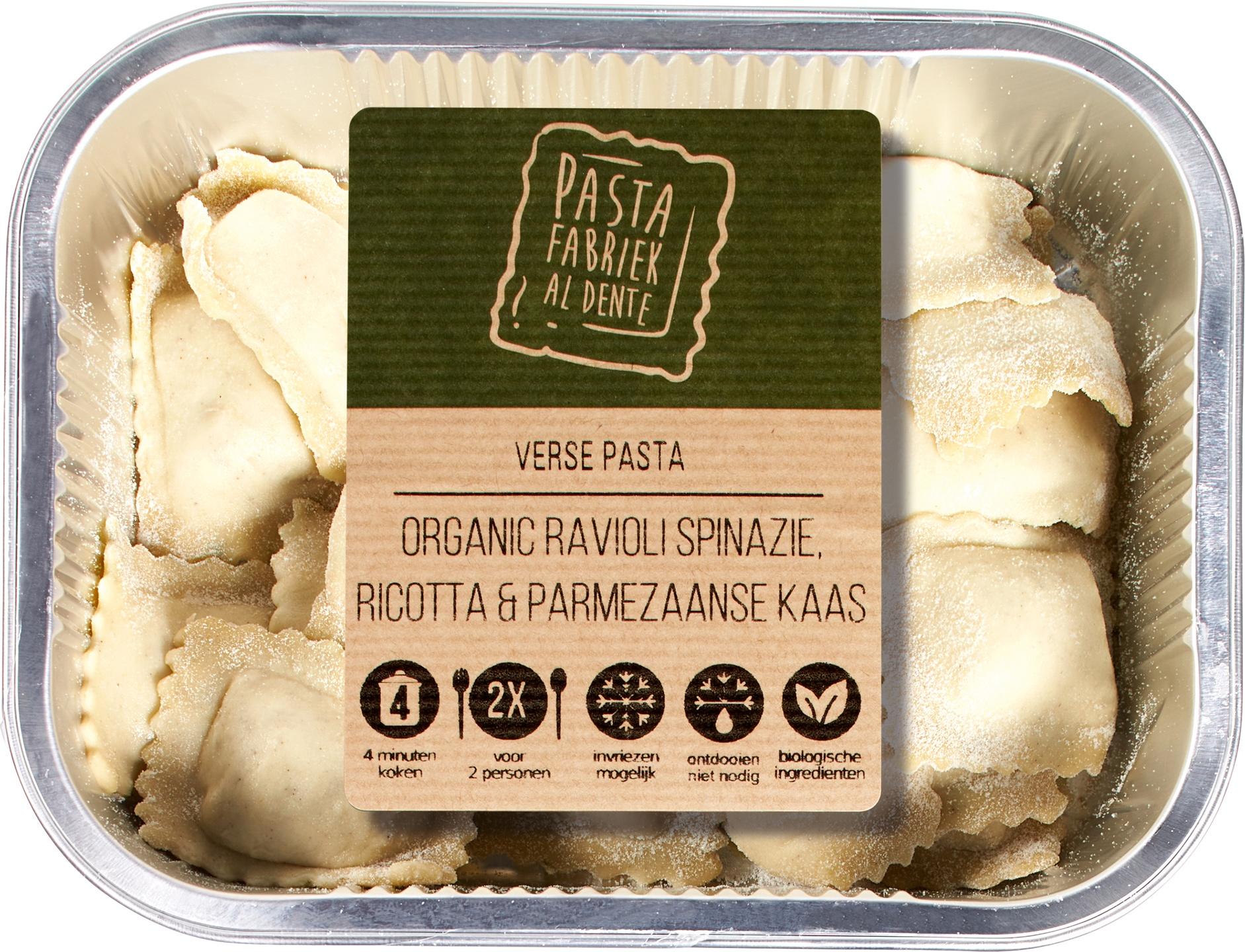 Biologische De Pastafabriek Verse ravioli spinazie ricotta 250 gr