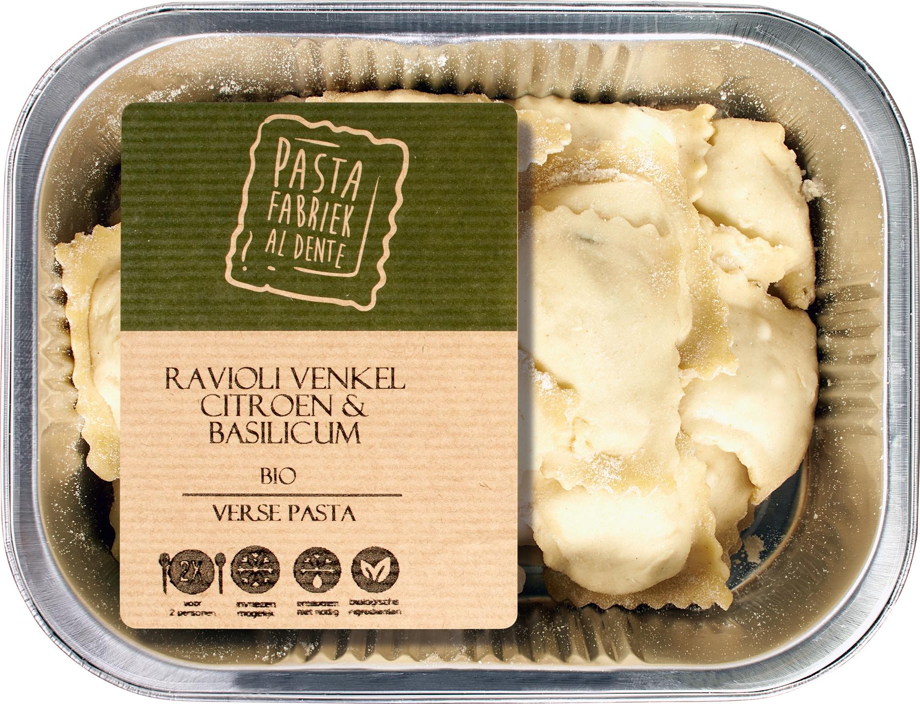Biologische De Pastafabriek Verse ravioli venkel citroen 250 gr