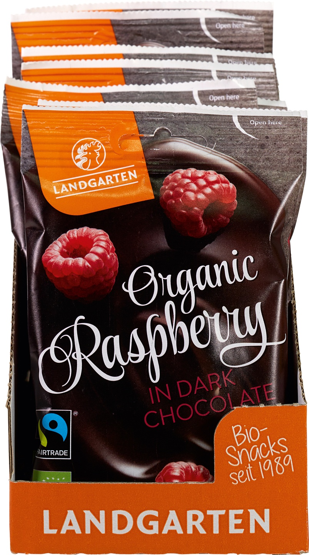Biologische Landgarten Frambozen in chocolade 50 gr