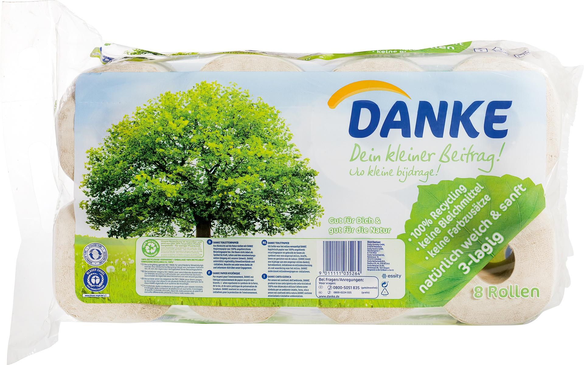 Biologische Danke Toiletpapier 3-laags 8 st